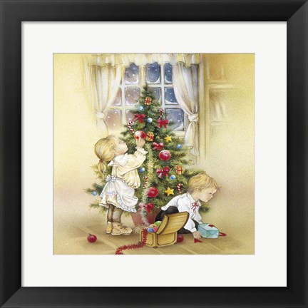 Framed Red Ornament Tree Decorating Print