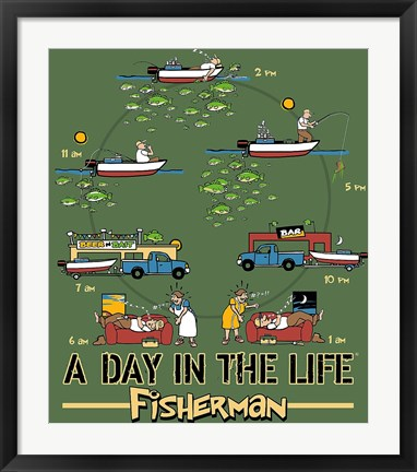 Framed Day in the Life Fisherman Print