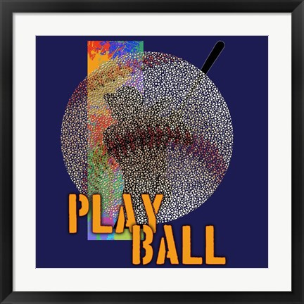 Framed Play Ball Baseball Print