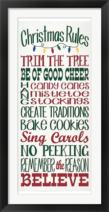 Framed Christmas Rules Print