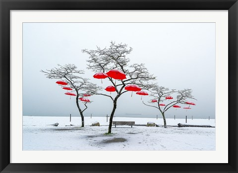 Framed Red Umbrellas Print