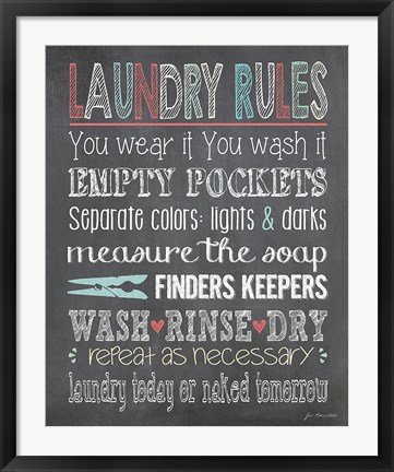 Framed Laundry Rules Print