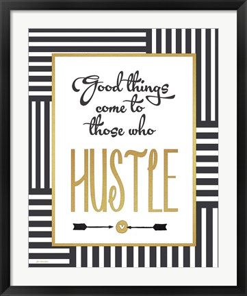 Framed Faux Gold Hustle Print