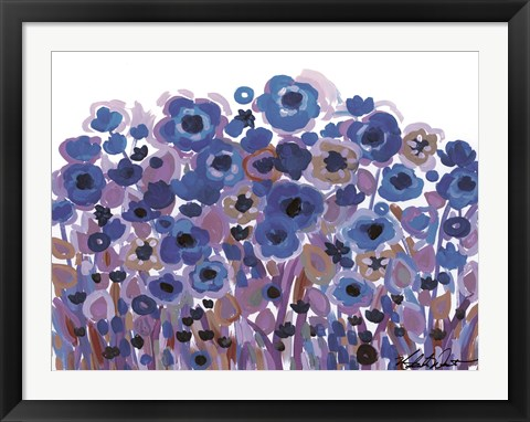 Framed Blue Blooming Garden Print