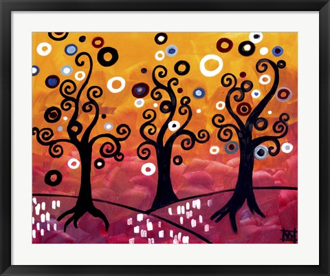 Framed Swirling Trees And Magenta Print