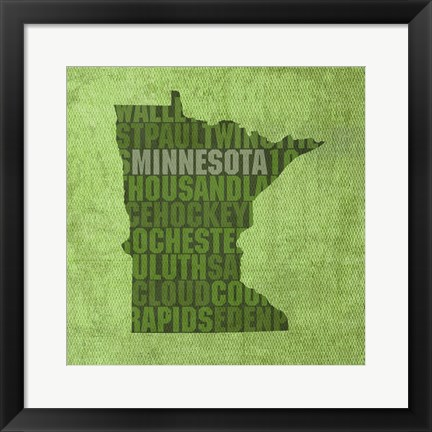 Framed Minnesota State Words Print