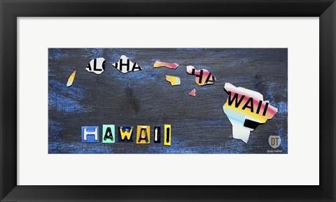 Framed Hawaii State Map Print