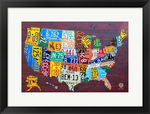 Framed License Plate Map USA IV Print