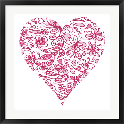 Framed Pink Flower Love Heart Print