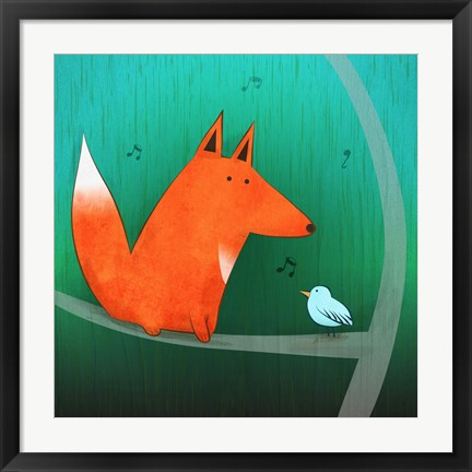 Framed Fox In Tree Print