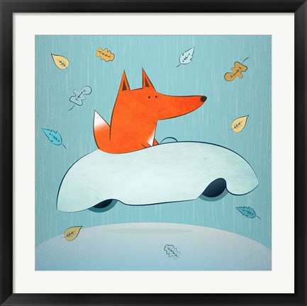 Framed Fox In Car Print