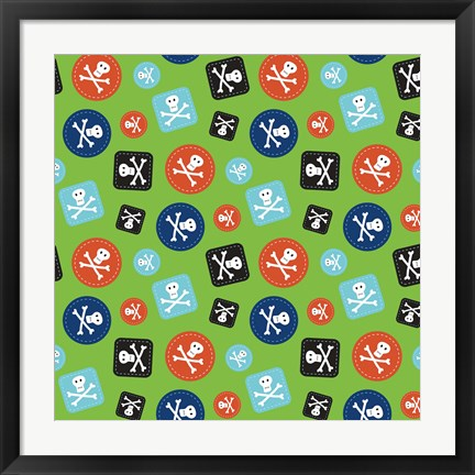 Framed Pirate Badge Pattern Green Print