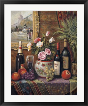 Framed Wine And Floral III Print