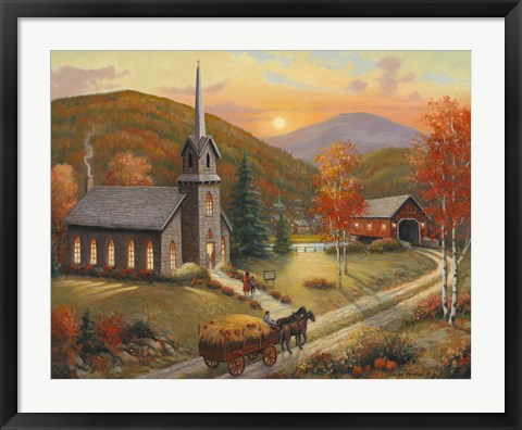 Framed Autumn In Vermont Print