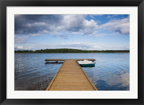 Framed Lake and pier, Grutas, Southern Lithuania, Lithuania Print