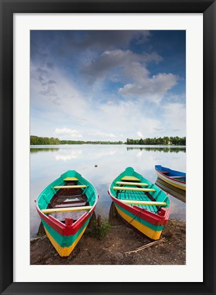 Framed Lake Luka, Trakai Historical National Park, Trakai, Lithuania Print