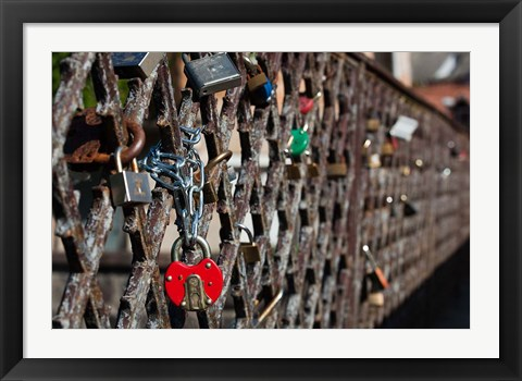 Framed Lithuania, Vilnius, Footbridge, Lovers' Locks Print