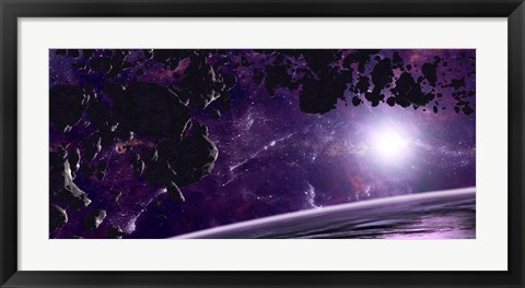 Framed Asteroid field against a Celestial Background Print
