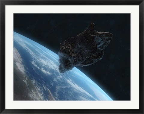 Framed Asteroid in Front of the Earth IV Print