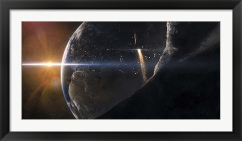 Framed Space Shuttle flying over an Asteroid that is passing close to Earth Print