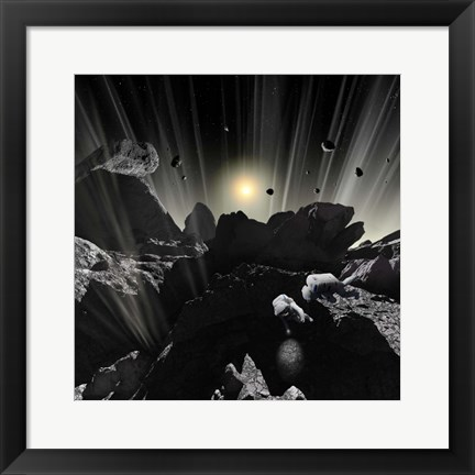 Framed Astronauts explore the tumultuous surface of a Comet Print