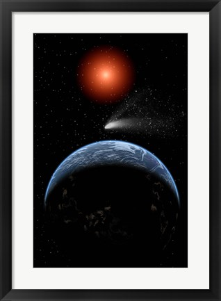 Framed Comet passing the Earth Print
