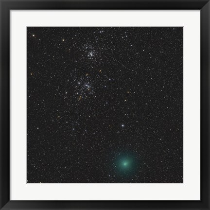 Framed Comet Hartley 2 and the Double Cluster Print