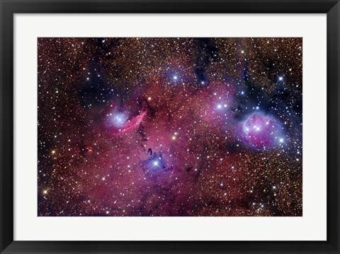 Framed NGC 6559 is a rich colorful tapestry of diverse nebulosity in the Constellation Sagittarius Print