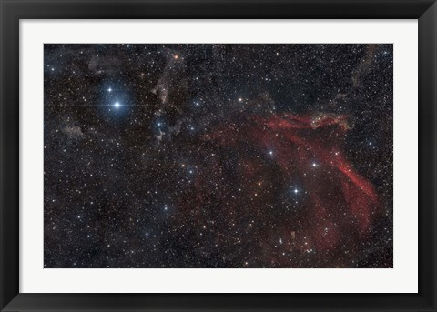 Framed Glowing and reflecting nebulosity in the Constellation of Lacerta Print