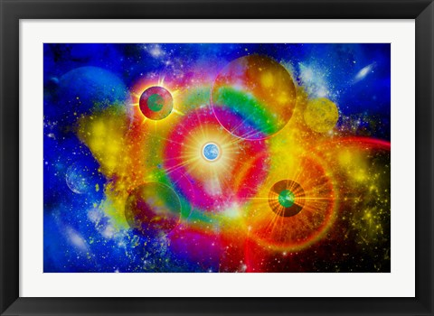 Framed vast Gaseous Nebula illuminated from within by new stars Print