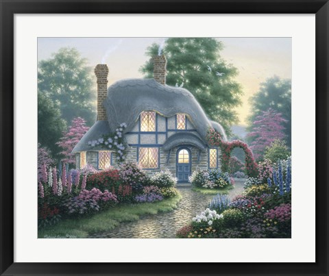 Framed Twilight At Tilden Cottage Print
