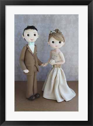Framed Bride And Groom Taupe Print