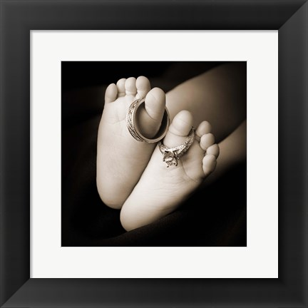 Framed Baby Toes And Rings Print