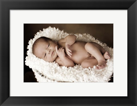 Framed Baby Cuddling In White Print