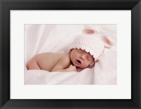 Framed Baby And Pink Bunny Ears Print
