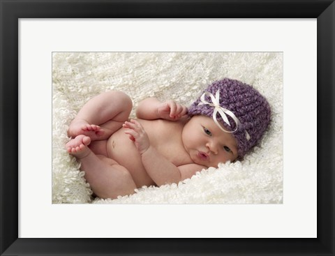 Framed Baby In Mauve Cap Print