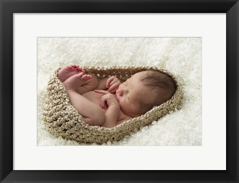 Framed Baby In Beige Pod Print