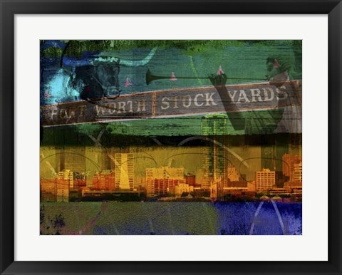 Framed Ft. Worth Collage Print