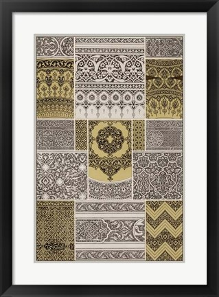 Framed Ornament in Gold & Silver II Print
