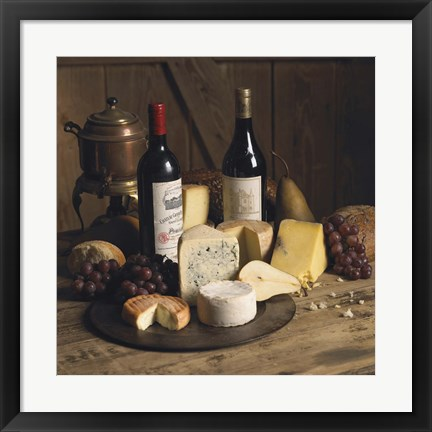 Framed Wine And Cheese 1 Print