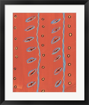 Framed Bubbles and Stripes Salmon Print