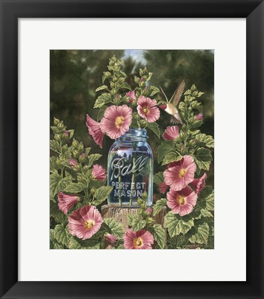 Framed Summer Hollyhocks Print
