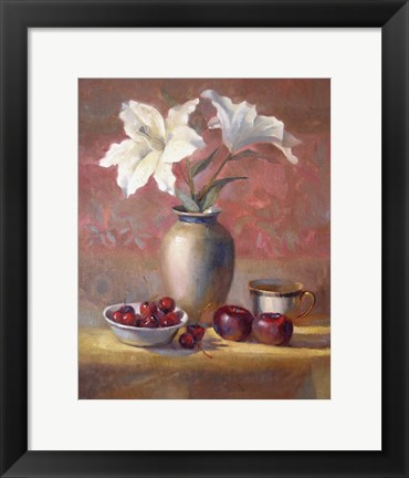 Framed Lilies With Plums and Cherries Print