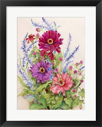 Framed Zinnias and Blue Salvias Print