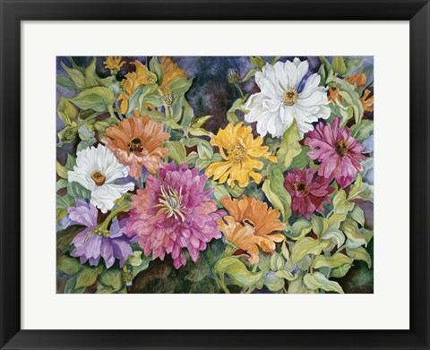 Framed Multi-Colored Zinnias Print