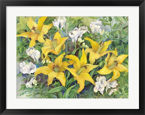 Framed Gold Lilies And Freesia Print