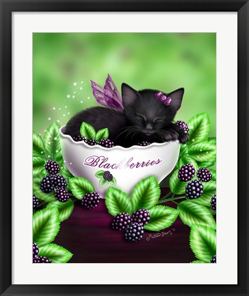 Framed Blackberry Kitten Print
