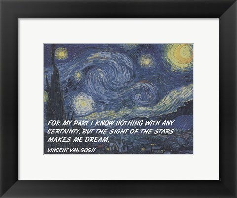 Framed Sight of the Stars - Van Gogh Quote Print