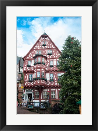 Framed Half-Timber Hotel during Christmas Print