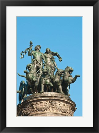 Framed Panther Quadriga Sculptur, Germany Print